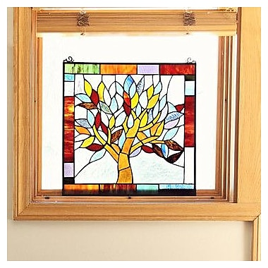 River of Goods Mystical World Tree Tiffany Style Stained Glass Window Panel