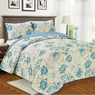 Manhattan Heights Brigitte Floral 3 Piece Reversible Quilt Set; Queen
