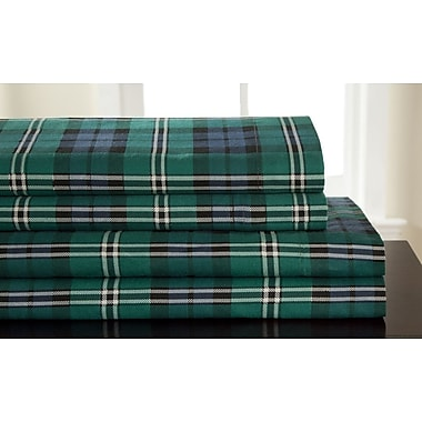 Elite Home Products (Bedding) Winter Nights Flannel Jackson Plaid 100pct Cotton Sheet Set; King