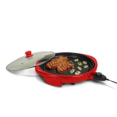 Elite by Maxi-Matic Gourmet 14'' Electric Indoor Grill w/ Lid; Red