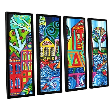 ArtWall 'Jump' by Debra Purcell 4 Piece Framed Painting Print on Wrapped Canvas Set