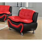 Living In Style Fiorina Faux Leather Armchair; Black/Red