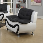 Living In Style Fiorina Faux Leather Armchair; Black/White