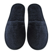 Arus Men's Turkish Terry Cotton Cloth Bath Slippers; Black