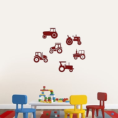 SweetumsWallDecals Set of Tractors Wall Decal; Cranberry