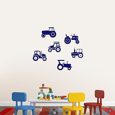 SweetumsWallDecals Set of Tractors Wall Decal; Navy