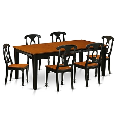 East West Quincy 7 Piece Dining Set; Black & Cherry