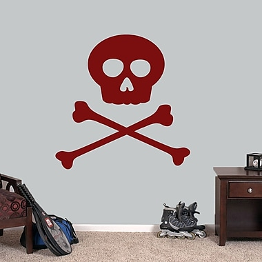 SweetumsWallDecals Skull and Crossbones Wall Decal; Cranberry