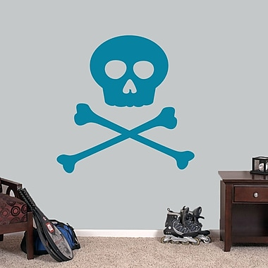 SweetumsWallDecals Skull and Crossbones Wall Decal; Teal