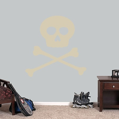 SweetumsWallDecals Skull and Crossbones Wall Decal; Beige