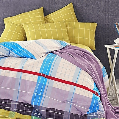 Debage Inc. Madison 4 Piece Queen Duvet Cover Set; Mustard/Blue