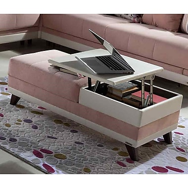 Winport Industries Caprice Coffee Table With Lift Top; Pink/White