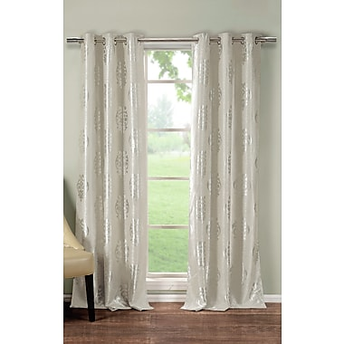 DR International Hastings Damask Blackout Thermal Grommet Curtain Panels (Set of 2); Taupe