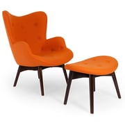 Kardiel Contour Wing back Chair and Ottoman; Carrot