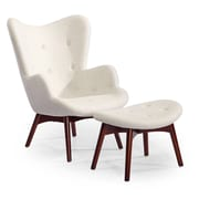 Kardiel Contour Wing back Chair and Ottoman; Heather White