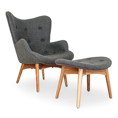 Kardiel Contour Lounge Chair and Ottoman; Cadet Gray