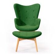 Kardiel Contour Lounge Chair and Ottoman; Wheatgrass