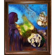 Tori Home Girl w/ Chrysanthemums, 1905 by Odilon Redon Framed Painting Print