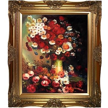 Vase w/ Poppies Cornflowers Peonies and Chrysanthemums by Vincent Van Gogh Framed Painting Print