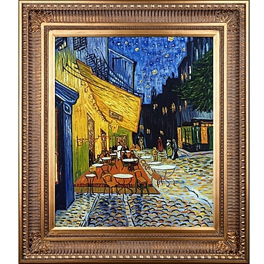Tori Home Cafe Terrace at Night Metallic Embellished by Vincent Van Gogh Framed Painting Print