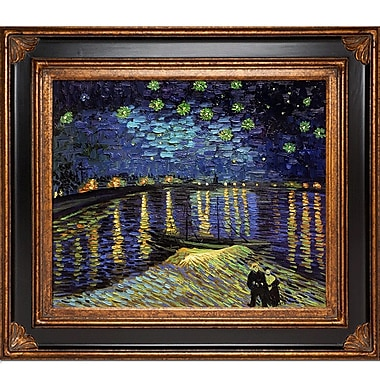 Tori Home Starry Night Over The Rhone by Vincent Van Gogh Framed Painting Print; Gold