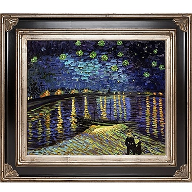 Tori Home Starry Night Over The Rhone by Vincent Van Gogh Framed Painting Print; Silver