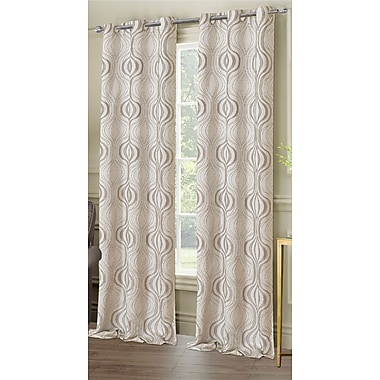 Dainty Home Symphony Geometric Semi-Sheer Grommet Curtain panels (Set of 2); Silver