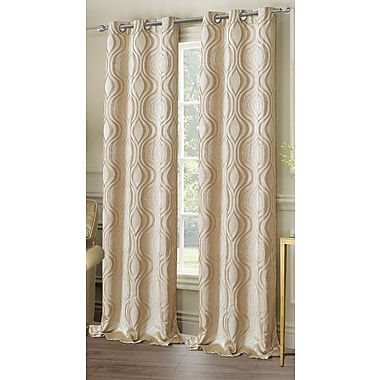 Dainty Home Symphony Geometric Semi-Sheer Grommet Curtain panels (Set of 2); Taupe