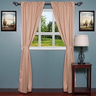 Sweet Home Collection Burlap Curtain Panels (Set of 2); Granite