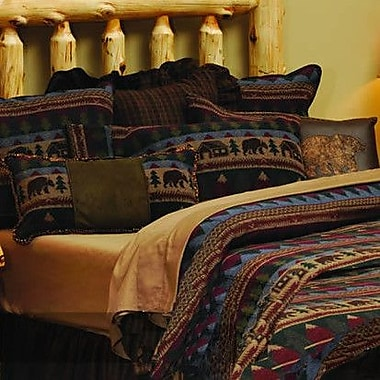 Wooded River Cabin Bear 7 Piece Coverlet Set; Super King