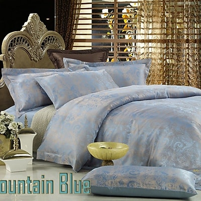 Dolce Mela Dolce Mela Fountain Blue 6 Piece Duvet Cover Set; Queen