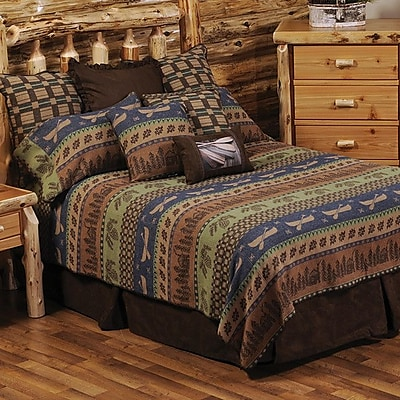 Wooded River Lake Shore Coverlet; Queen
