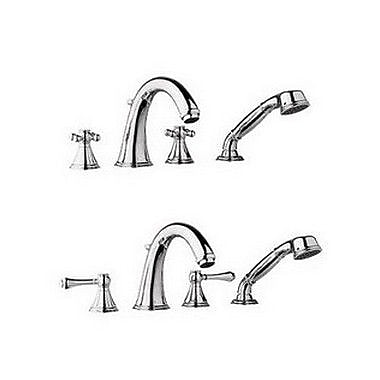 Grohe Geneva Double Handle Roman Thermostatic Tub Faucet w/ Hand Shower; Polished Nickel