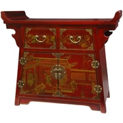 Oriental Furniture Lacquer Village Life Altar Cabinet; Red Lacquer