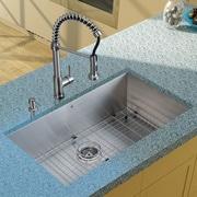 Vigo 32'' x 19'' Undermount Kitchen Sink w/ Faucet, Grid, Strainer and Soap Dispenser