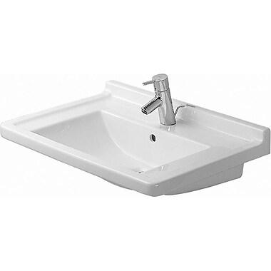 Duravit Starck 3 Ceramic 28'' Wall Mount Bathroom Sink w/ Overflow; Single Hole