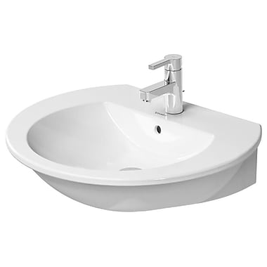 Duravit Darling New Ceramic 26'' Wall Mount Bathroom Sink w/ Overflow; Three hole