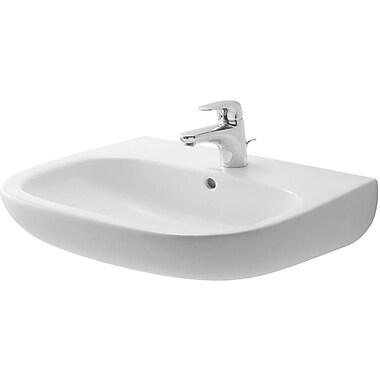 Duravit D-Code Ceramic 22'' Wall Mount Bathroom Sink w/ Overflow; Three Hole