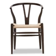 Wholesale Interiors Baxton Studio Wishbone Chair in Dark Brown Barrel Chair