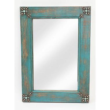 MyAmigosImports Concho Cross Rustic Mirror; Turquoise