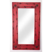 MyAmigosImports Old Ranch Rustic Mirror; Red