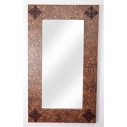 MyAmigosImports Ranch Tooled Leather Rustic Mirror