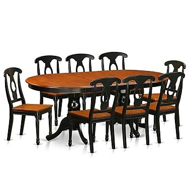 East West Plainville 9 Piece Dining Set; Black / Cherry