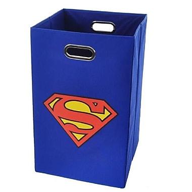 Modern Littles Superman Logo Folding Laundry Hamper; Blue