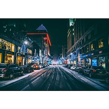 DesignArt 'Fast Paced City- Montreal' Photographic Print on Wrapped Canvas; 30'' H x 40'' W
