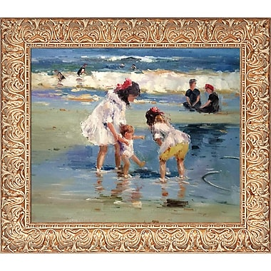 Tori Home Children Playing at The Seashore by Edward Henry Potthast Framed Painting