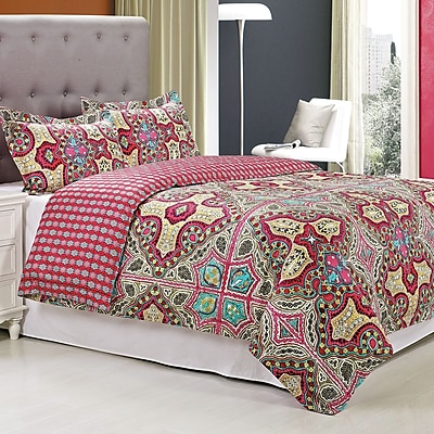 Simple Luxury Wildberry 3 Piece Reversible Duvet Cover Set; King/California King
