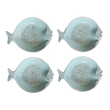 Creative Co-Op Waterside Ceramic Fish Dish (Set of 4)