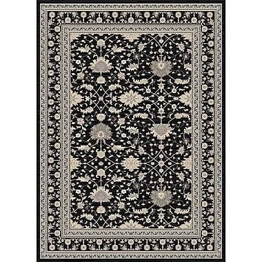 Charlton Home Highland Black/Cream Area Rug; ROUND 5'3