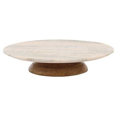 Creative Co-Op Turn of the Century Round Marble Lazy Susan Revolving Cake Stand